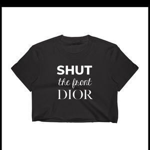 Tops - Oversized Shut the front Dior crop top, Top, Black